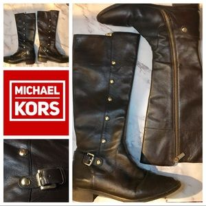 Michael Kors Brown Studded Leather Boot
